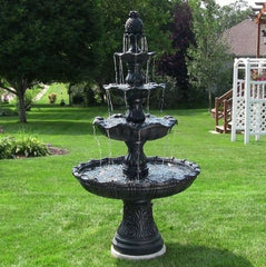 4 Tier Fountain Electric Courtyard Large Water Garden Fixture Outdoor Decor New