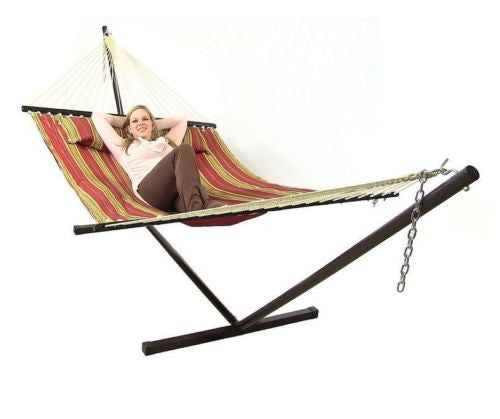 Quilted Hammock with Spreader Bar and Pillow with Hanging Chains