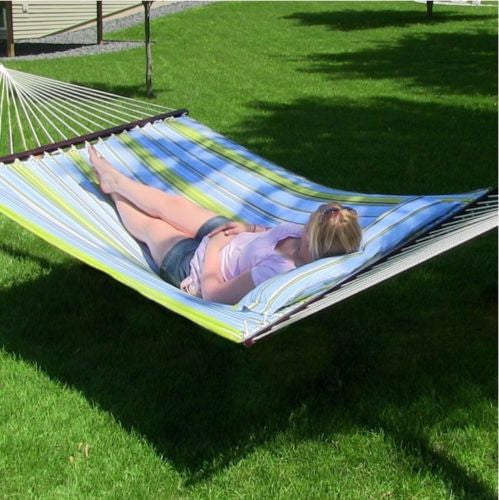 Quilted Double Fabric Hammock With Pillow and Spreader Bar