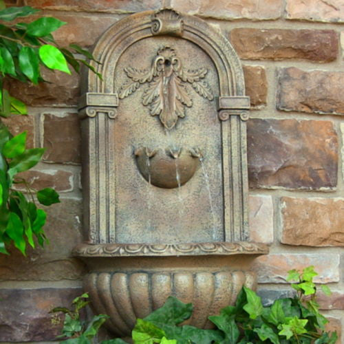 Solar On Demand Wall Fountain in Florentine Stone Finish