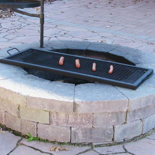 26 Inch Heavy Duty Steel Black Rectangle Fire Pit Cooking Grill Grate Firepit