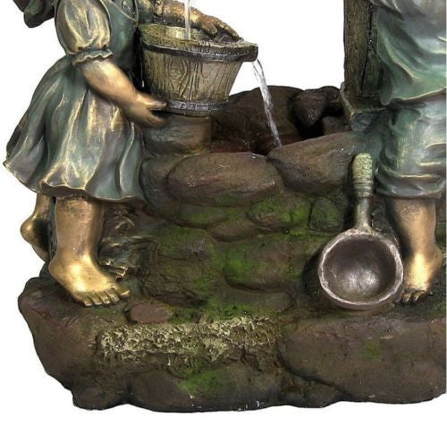 Children At The Well Outdoor Water Fountain With LED Light Garden Fixture Decor