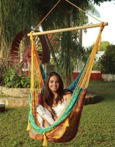 Extra Large Multi Color Mayan Chair Hammock Swing With Wood Bar