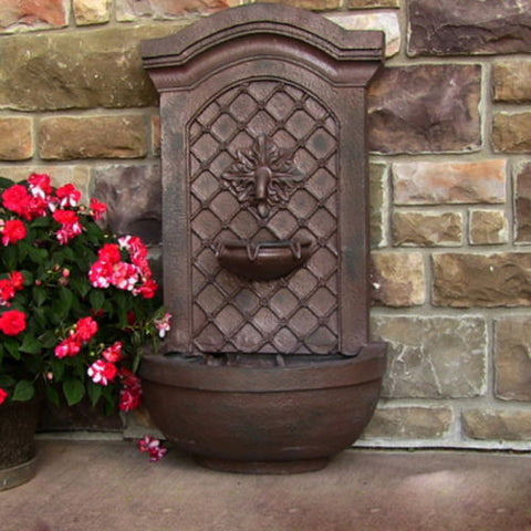 Rosette Outdoor Solar Wall Water Fountain in Weathered Iron Finish