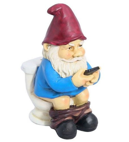 Garden Gnome Sitting on Toilet