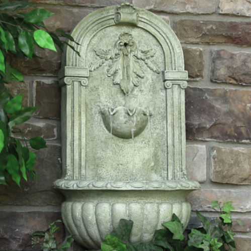 Solar Wall Mounted Water Fountain in French Limestone Finish