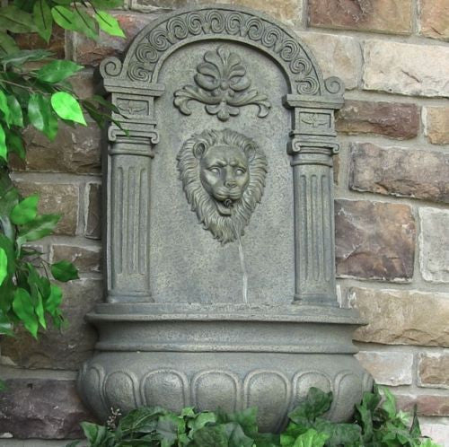 Electric Wall Mounted Lion Head Water Fountain in French Limestone Finish