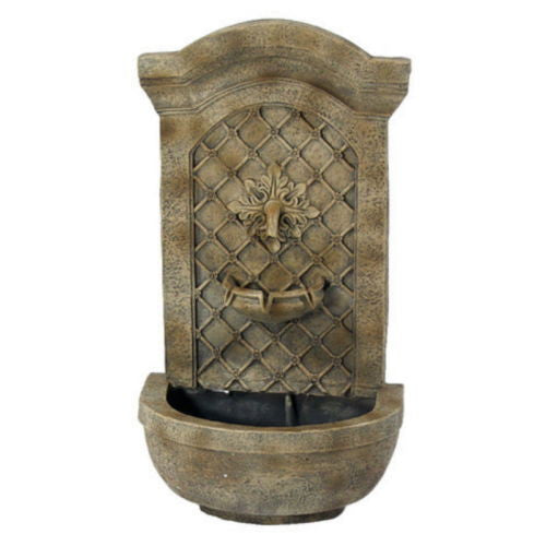 Electric Outdoor Rosette Leaf Wall Water Fountain in Florentine Stone Finish