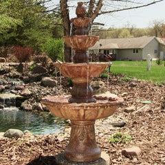 4 Tier Outdoor Electric Water Fountain  w/ Pineapple Top 52