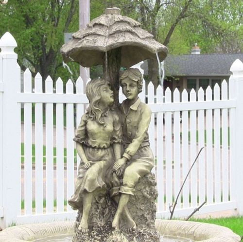 Lovers Umbrella Solar On Demand Water Fountain with LED Light