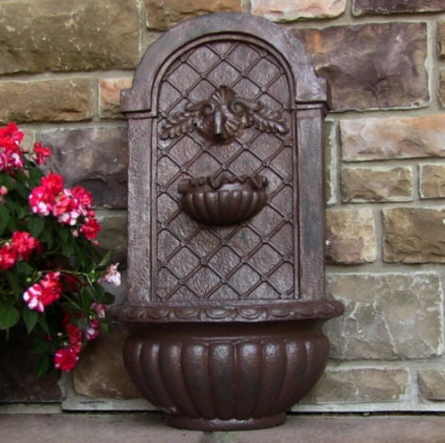 Solar Venetian Outdoor Wall Fountain in Weathered Iron Finish