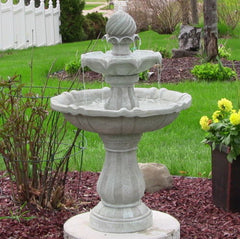 2 Tier Solar On Demand Water Fountain in White Earth Finish