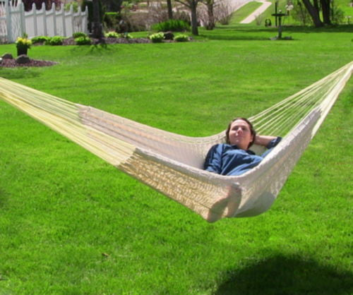 Comfortable Durable Outdoor XXL Thick Cord Mayan Hammock In Natural Color