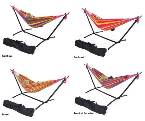 Hammock With Adjustable Stand & Carrying Case Combo Cotton Weave Warm Colors New