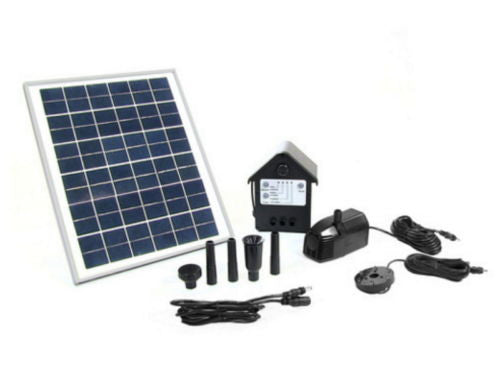 "Outdoor Water Fountain Solar Pump And Panel Kit 78"" Lift with Battery Pack and LED Light"