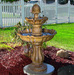 2 Tier Yard Fountain Water Outdoor Garden Gardening Electric Pump Outside Decor