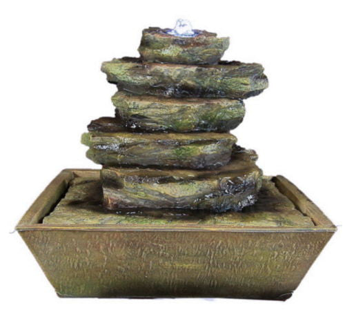 Cascading Rocks Electric Tabletop Water Fountain with LED Lights
