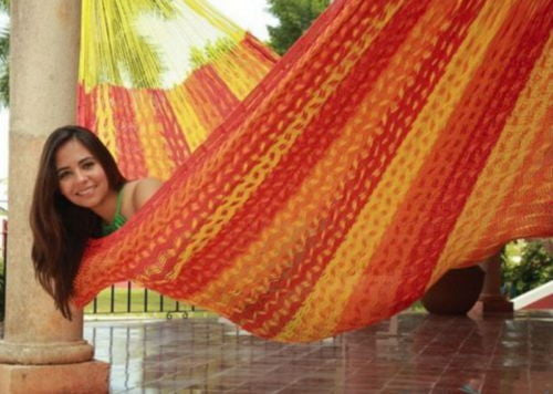 Durable Comfortable Outdoor Hand Made Family Mayan Hammock in a Tequila Color