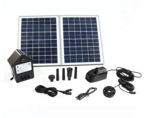 "Outdoor Water Fountain Solar Pump And Panel Kit w/ 118"" Lift"