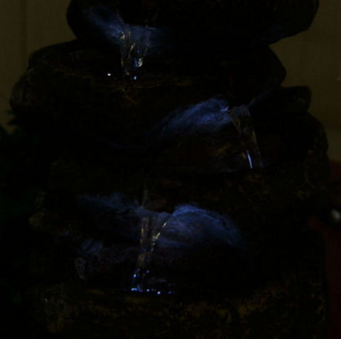 Stacked Rocks Electric Tabletop Water Fountain with LED Lights