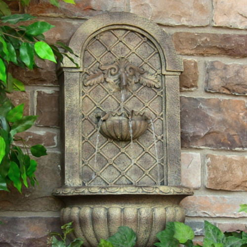 Venetian Outdoor Solar Wall Water Fountain in Florentine Stone Finish