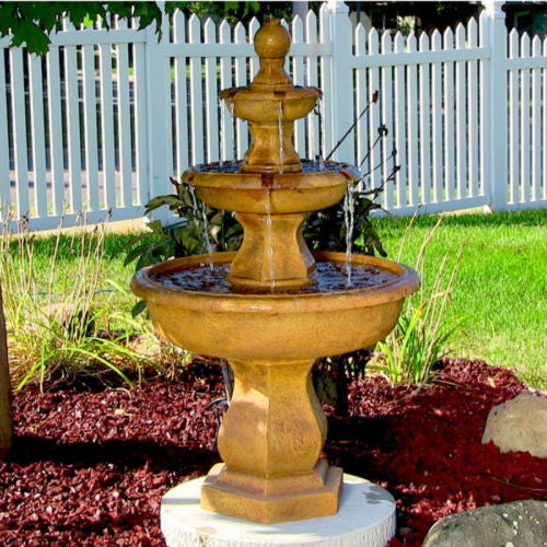 3 Tier Outdoor Electric Water Fountain w/ Tropical Finish