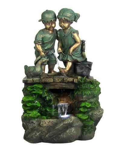 Children Discovering Nature Outdoor Water Fountain With LED Light Garden Fixture