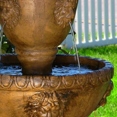 2 Tier Electric Lion Head Water Fountain