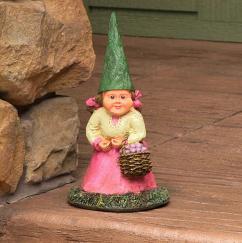 Woman Garden Gnome Holding Basket of Berries