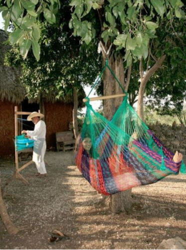 Large Handwoven Mayan Multi Color Hammock Swing Chair With Wood Bar