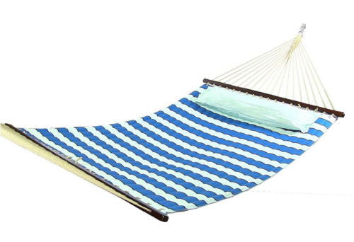 Quilted Double Fabric Hammock And Pillow Combo Spreader Bar Hanging Chains
