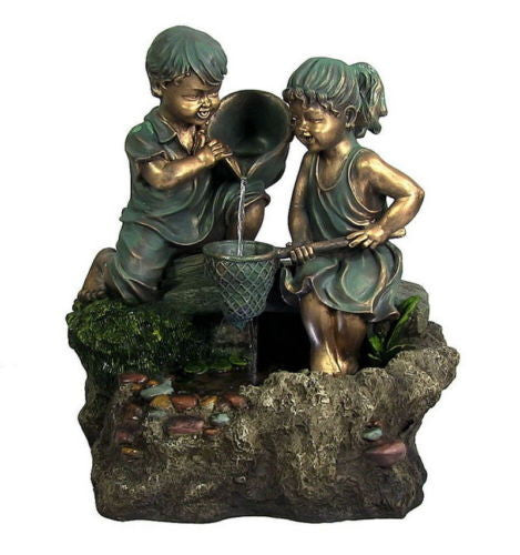 Boy And Girl Outdoor Electric Water Fountain Country Kids Garden Fixture Decor