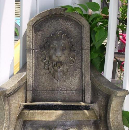 Corner Lion Head Electric Water Fountain with LED Lights