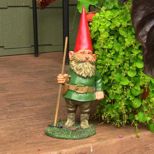 Man Garden Gnome Carrying A Rake