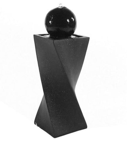 Black Ball Solar Water Fountain with LED Light