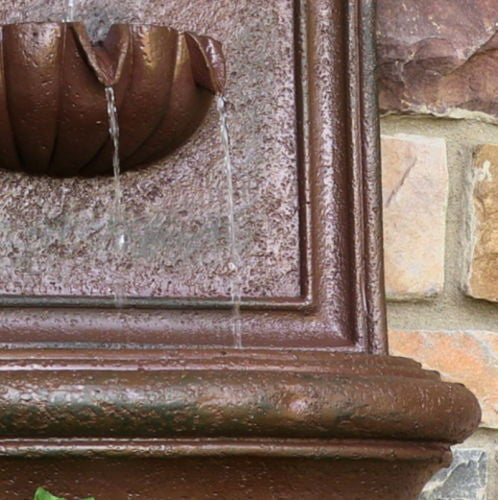 Solar Wall Fountain in Weathered Iron Finish
