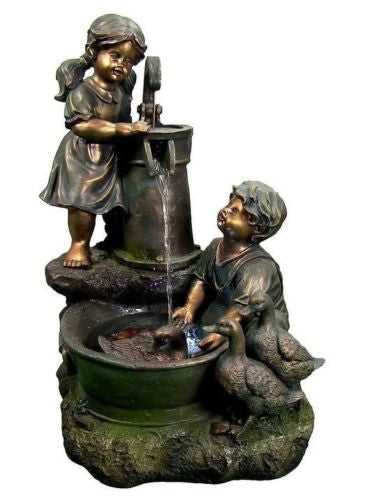 Country Children & Water Pump Fountain w/ LED Light
