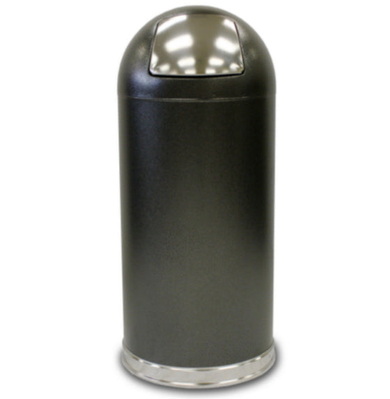 15-Gal. Waste Receptacle Dome Trash Can Home Office Furniture Silver Vein Finish
