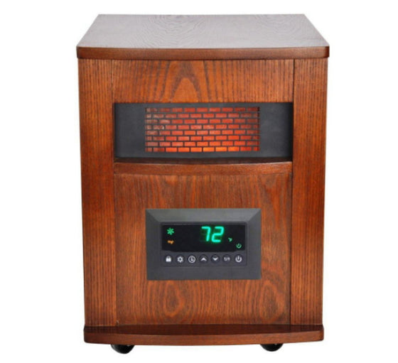 1500-Watt 6-Element Infrared Large Room Heater with Oak Cabinet and Remote