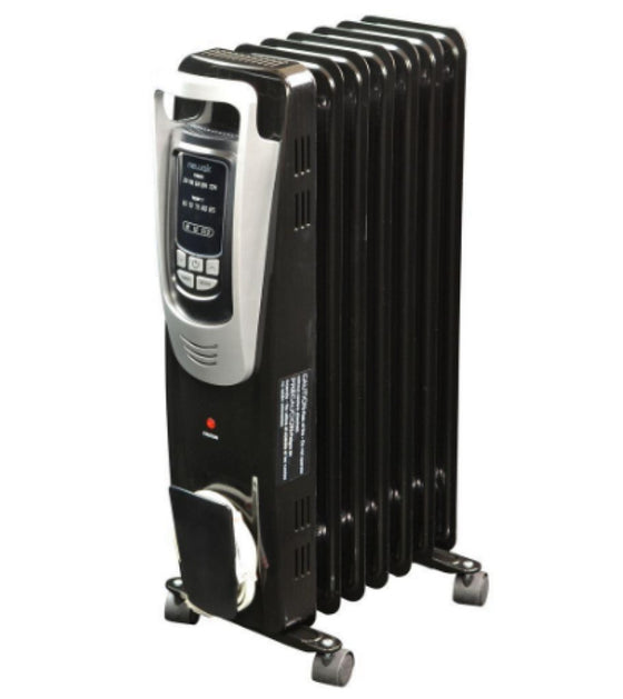 1500-Watt Electric Oil-filled Radiant Portable Space Heater 3-Heat Setting Black