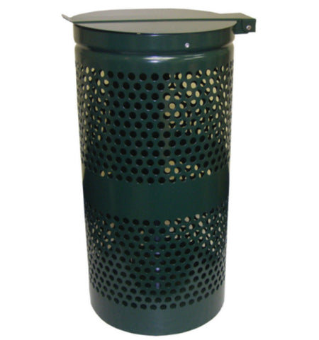 15 Gallon Aluminum Waste Receptacle with Smart Liner Trash Bags Forest Green