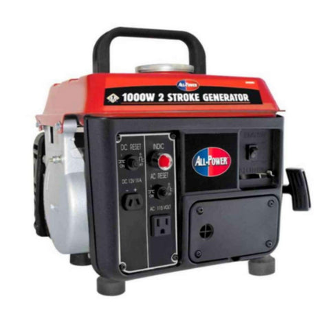 1,000-Watt 2 Stroke Powered Gas and Oil Mix Portable Generator Recoil Start