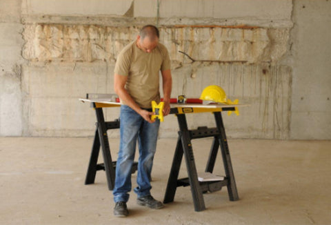 1,000 lbs. Adjustable Sawhorse 2-Pack Hand Tool with Tray Compartment