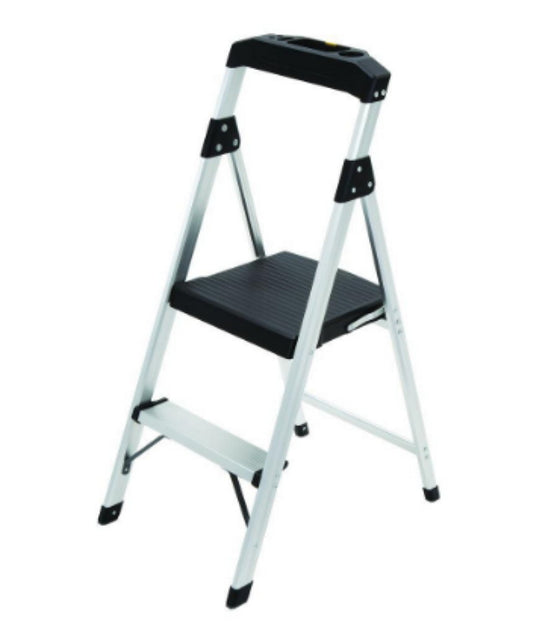 2-Step Aluminum Step Stool Ladder 225 lb. with Built-in Utility Tray Lightweight
