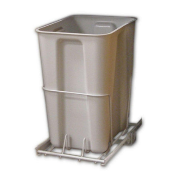 24 Qt. White Pull-Out Trash Can 6 Gal. Plastic Bin Kitchen Decor Garbage Can