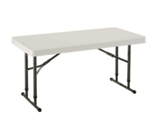 24 in. x 48 in. Adjustable Folding Table Outdoor Lightweight Furniture White