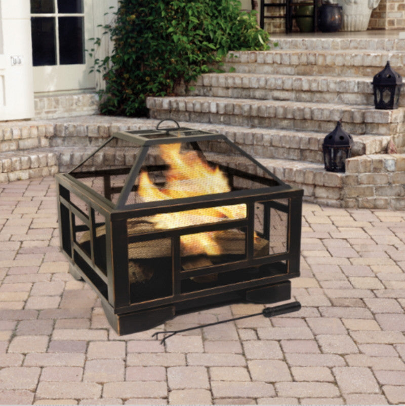 "26"" Modern Wood Burning Fire Pit Outdoor Camping Fireplace Rubbed Bronze Finish"