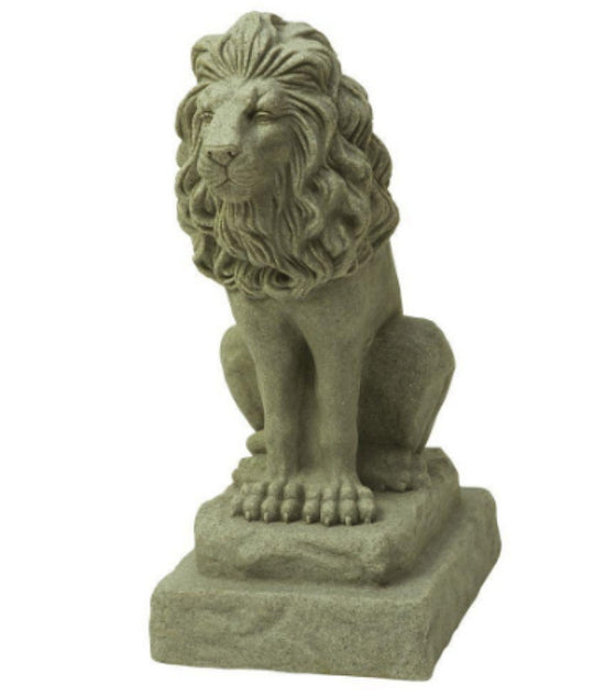 28 in. Guardian Lion Statue Outdoor Weather Resistant Decor Sand Finish