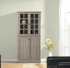 2 Door Glass China Cabinet Sturdy Storage Unit Dining Room Furniture Light Gray