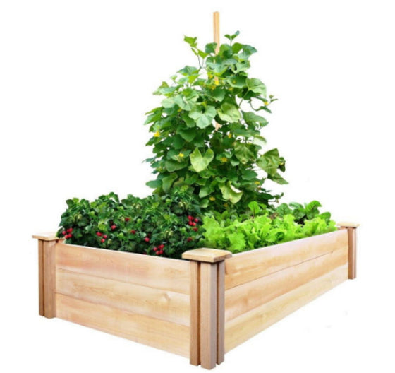 2 ft. x 4 ft. x 10.5 in. Cedar Raised Garden Bed Outdoor Garden Planter